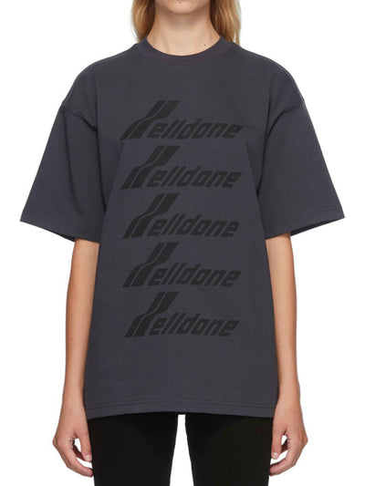 We11done Oversized Front Logo Tee Charcoal - PRIOR