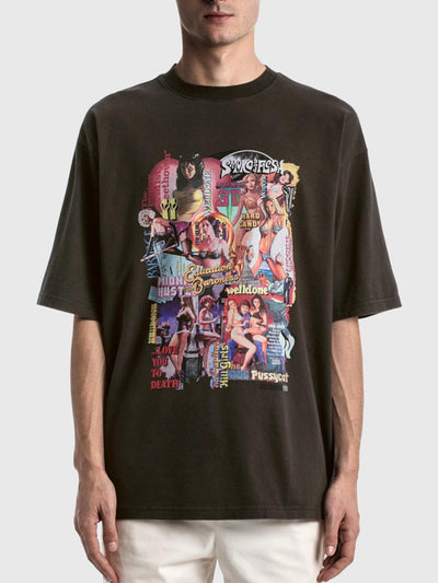 We11done Oversized Movie Collage Tee Black - PRIOR