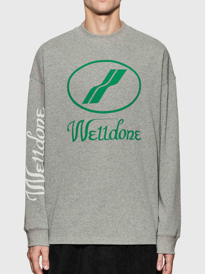 We11done Oversized Logo L/S Tee Grey - PRIOR