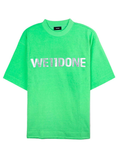 We11done Oversized Metal Logo Tee Green - PRIOR