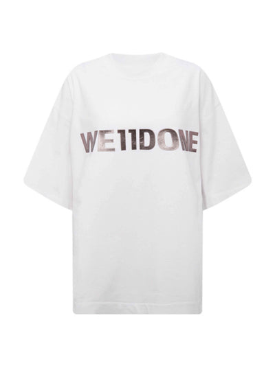 We11done Oversized Metal Logo Tee White - PRIOR