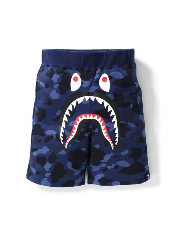 A Bathing Ape Color Camo Shark Sweat Shorts Navy - Prior