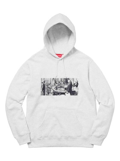 Supreme X Mike Kelley Franklin Signing Hoodie Grey [FW18] - PRIOR