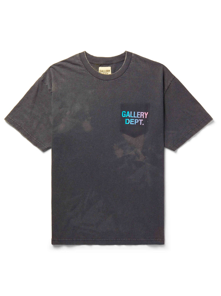Gallery Dept. Boardwalk Logo Print Distressed Cotton Jersey Tee Black - PRIOR