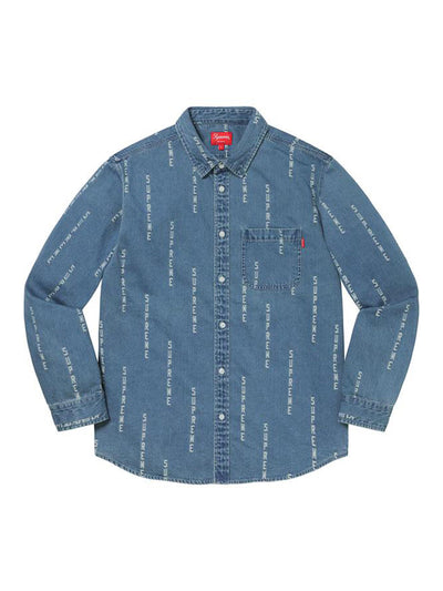 Supreme Logo Stripe Jacquard Denim Shirt Blue (FW20) - PRIOR