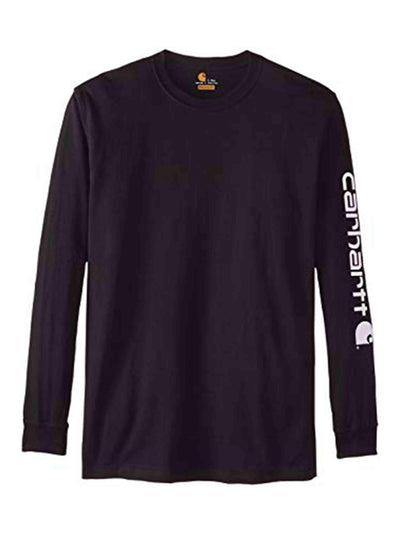 Carhartt Sleeve Spellout Logo Long Sleeved Tee Black - PRIOR