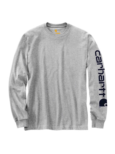 Carhartt Sleeve Spellout Logo Long Sleeved Tee Heather Grey - PRIOR