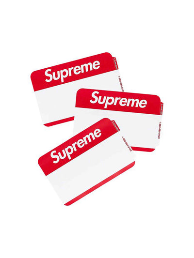 Supreme Name Badge Stickers Red 100 Pack - PRIOR