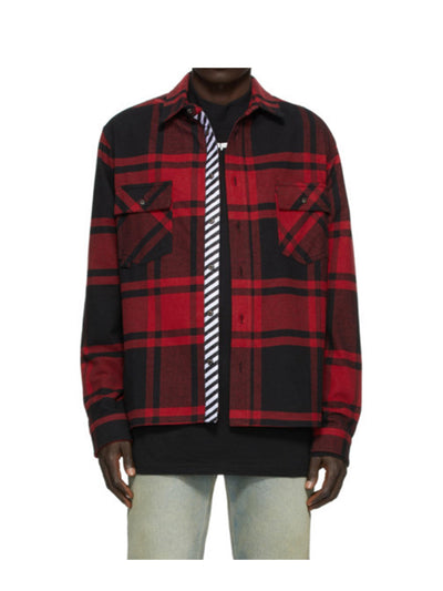 Off-White Stencil Flannel Shirt Red - PRIOR