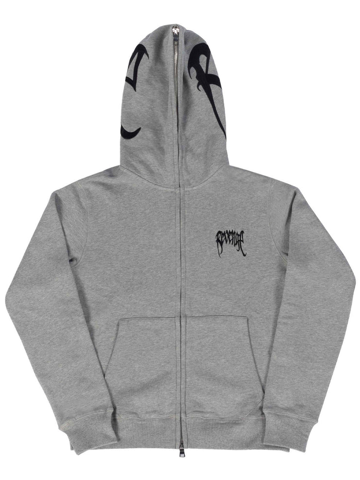 Revenge Embroidered Full Zip Hoodie Grey - Prior