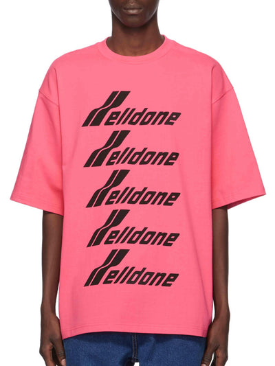 We11done Oversized Front Logo Tee Pink - PRIOR