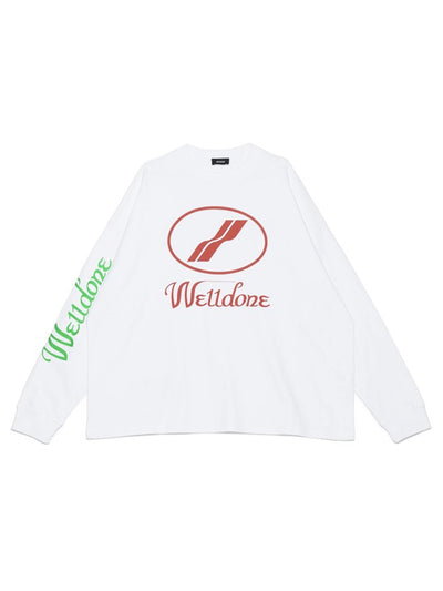 We11done Oversized Logo L/S Tee White - PRIOR