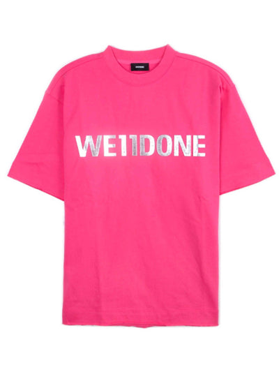 We11done Oversized Metal Logo Tee Pink - PRIOR