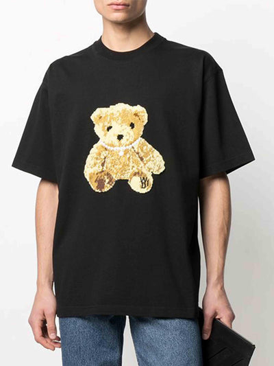We11done Oversized Embroidered Teddy Tee Black - PRIOR