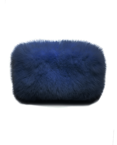 Navy Fox Fur Clutch (8