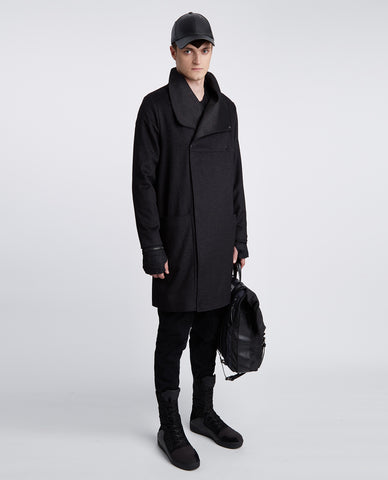 Men's Black Fitted Textured Long Coat
