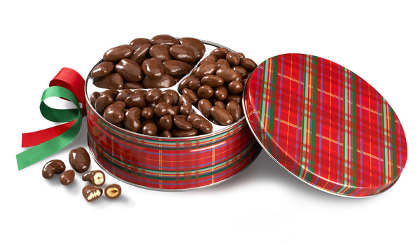 Gourmet Chocolate Nut Trio Holiday Tin