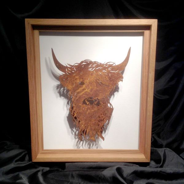 Highland Coo in Oak Frame