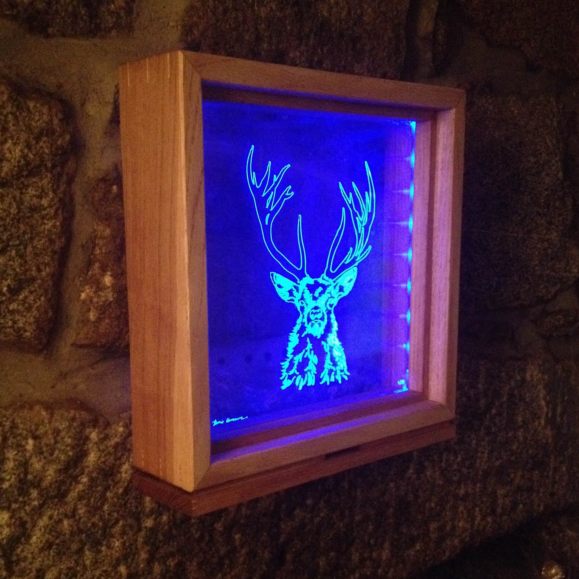 Highland Stag- Handmade Illuminated Frame