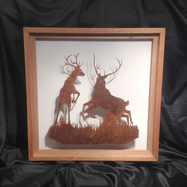 Fighting Stags in Handmade Frame