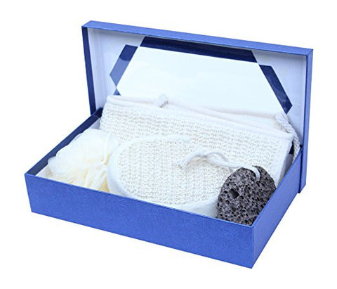 Bath Exfoliating Set In Blue Gift Box - AyaZen