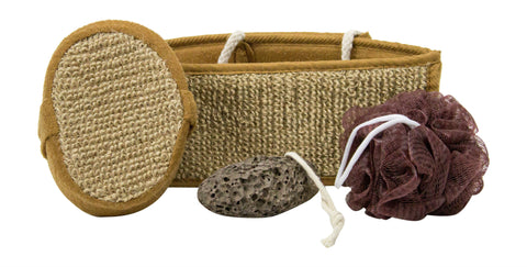 Bath Exfoliating Set In Brown Color - AyaZen