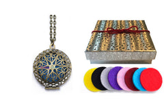 Premium AyaZen Aromatherapy Necklace Diffuser. Bronze Filigree Design Locket With Chain & 8 Felt Pads - AyaZen