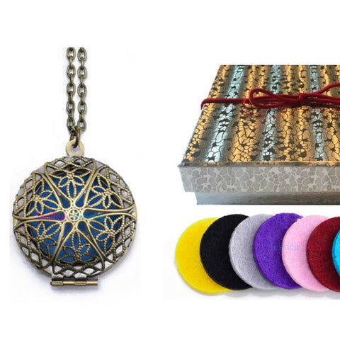 Premium AyaZen Aromatherapy Necklace Diffuser. Bronze Filigree Design Locket With Chain & 8 Felt Pads