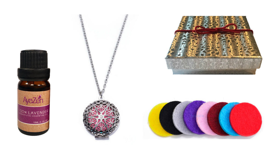 Premium AyaZen Lavender Essential Oil & Aromatherapy Necklace Diffuser. Silver Filigree Design Locket With Chain & 8 Felt Pads - AyaZen