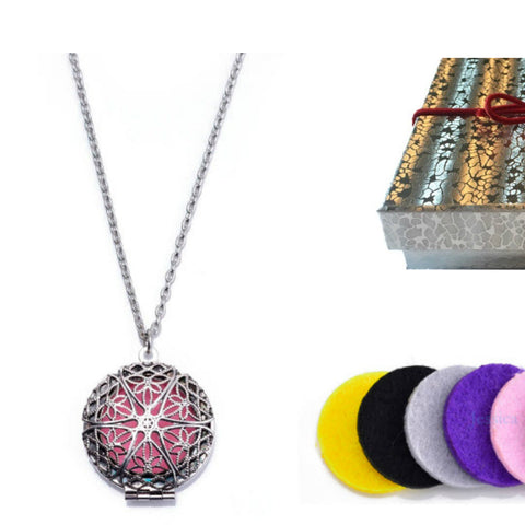 Premium AyaZen Lavender Essential Oil & Aromatherapy Necklace Diffuser. Silver Filigree Design Locket With Chain & 8 Felt Pads