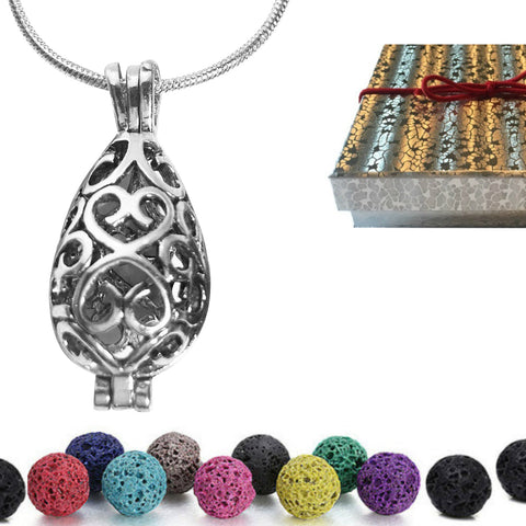 Necklace Locket Diffuser With Lava Stones