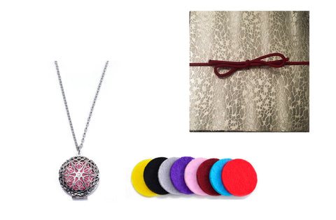 Premium AyaZen Aromatherapy Necklace Diffuser. Silver Filigree Design Locket With Chain & 8 Felt Pads - AyaZen