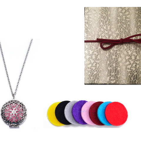 Premium AyaZen Aromatherapy Necklace Diffuser. Silver Filigree Design Locket With Chain & 8 Felt Pads
