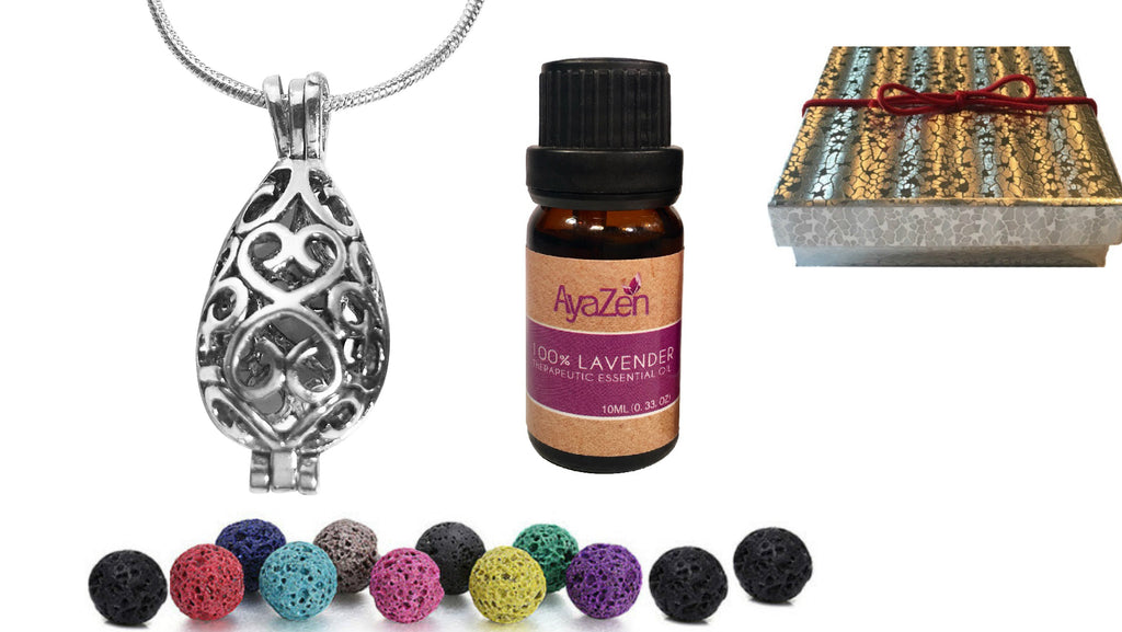 Lavender Essential Oil & Teardrop Necklace Diffusser With Lava Stones Aromatherapy Gift Set - AyaZen