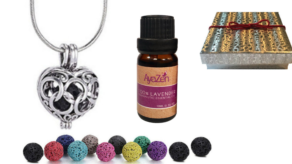 Lavender Essential Oil Plus AyaZen Heart Aromatherapy Necklace Diffuser With Lava Stones Aromatherapy Gift Set - AyaZen