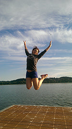 zoe de toledo jumping for joy in square blades clothing