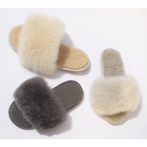 SAMANTHA HOLMES ALPACA FUR SLIDES 3 Colors