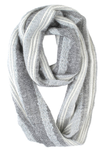 Boucle Infinity Scarf by Shupaca Monochrome light grey