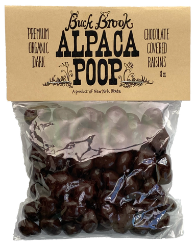 ALPACA POOP Certified NY Organic Dark Chocolate Raisins 3oz bag