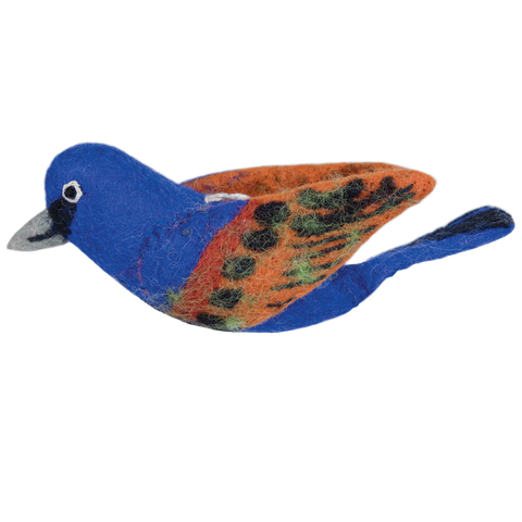 WILD WOOLIES FELTED WOOL ORNAMENT Blue Grosbeak