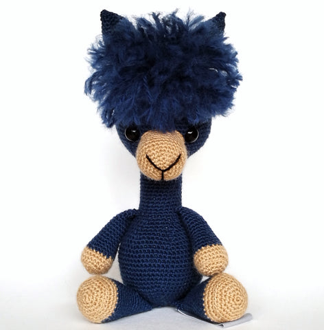 Buck Brook Alpacas' MY ALPACA PET Made with CATSKILLS LEGACY YARN After Dark (blue)