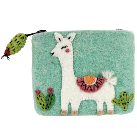 WILD WOOLIE'S FELTED COIN PURSE Happy Llama