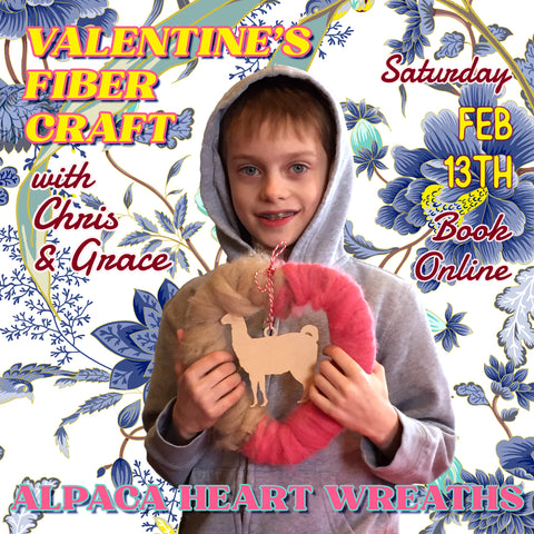 VALENTINE'S FIBER CRAFT Alpaca Heart Wreaths with Chris & Grace SINGLE