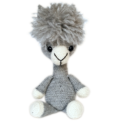 Buck Brook Alpacas' MY ALPACA PET Made with CATSKILLS LEGACY YARN Silver Lining (grey)