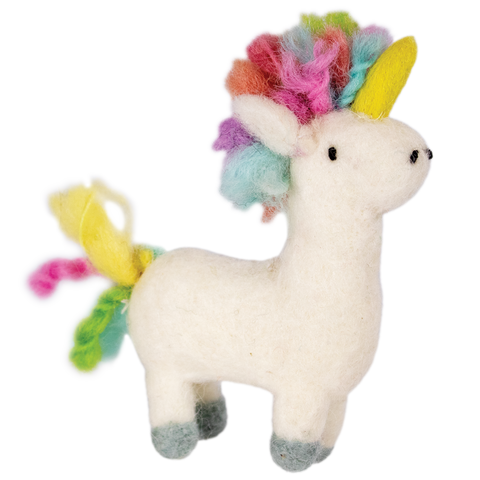 WILD WOOLIE'S FELTED ORNAMENT Rainbow Unicorn
