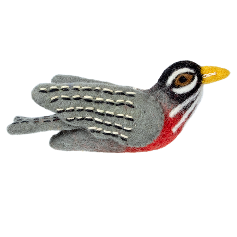 WILD WOOLIES FELTED WOOL ORNAMENT Red Robin