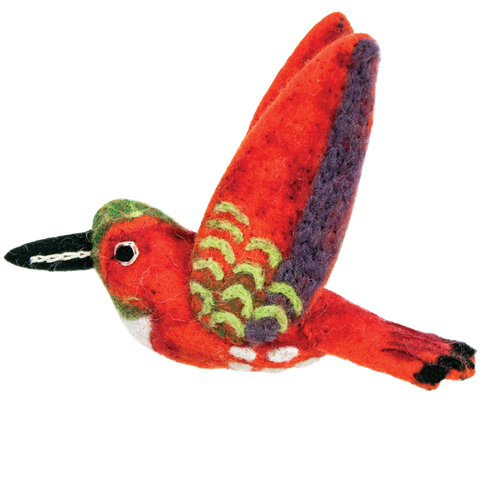 WILD WOOLIES FELTED WOOL ORNAMENT Rufous Hummingbird