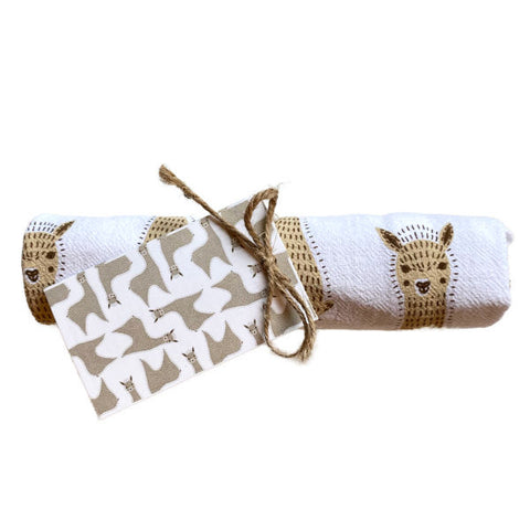 "New! ALPACA TEA TOWEL 24""x26"" 100% Cotton Fawn"
