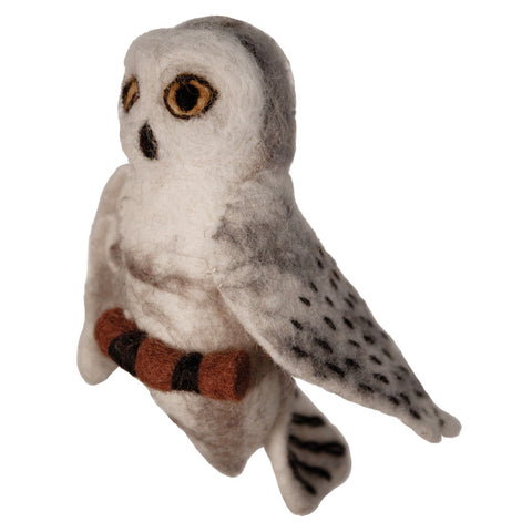 WILD WOOLIES FELTED WOOL ORNAMENT Snowy Owl