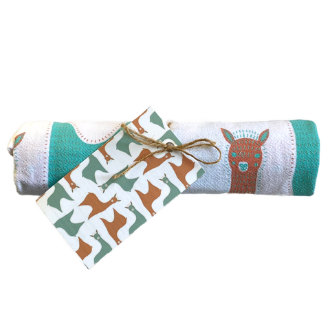 "New! ALPACA TEA TOWEL 24""x26"" 100% Cotton Retro"